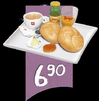 Klassik Frühstück mit 2 Semmeln, Butter und Marmelade